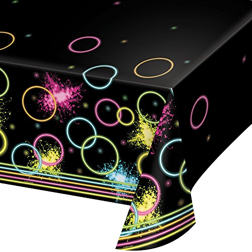 Creative Converting All Over Print Plastic Tablecover, Glow Party