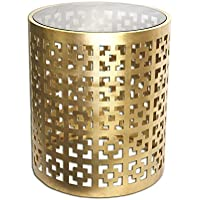 Alhambra Regent End Table, 19 Gilded Brass Glass Top Round Side Table by DecorShore