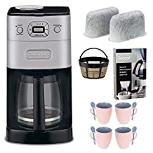 Cuisinart DGB-650BC Grind-and-Brew Thermal 10-Cup Automatic Coffeemaker, Brushed Metal + Replacement Water Filters 2 Pack + Home Activated Coffee/ Espresso Descaler + Knox 16oz. Mug With Spoon (4 Pack)
