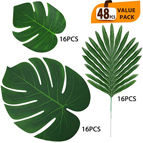 ElaDeco 48 Pcs Artificial Tropical Palm Leaves Luau Party Decoration Faux Palm Leaves Safari Leaves for Hawaiian Luau Party Jungle Beach Birthday Theme Decorations(3 Styles)]()