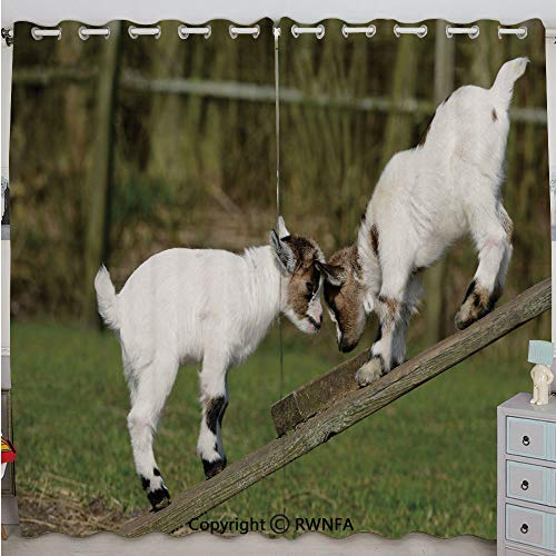 (Justin Harve window Two Little Baby Goats on a Bench Fighting with Their Horns Picture Image Bedroom Living Room Curtain Set of 2 Panels(100