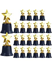 UgyDuky Gold Plastic Star Trophies for Kids, Pack of 24 Golden Colored Star Trophy Awards, Mini Award Trophies for Kids Party Favors, Props, Rewards, Carnival Prize, Competitions for Kids and Adults, 4.5 Inch