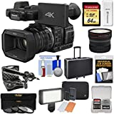 Panasonic HC-X1000 4K Ultra HD Wi-Fi Video Camera Camcorder with Fisheye Lens + 64GB Card + Case + LED Light Set + Microphone Set + Accessory Kit