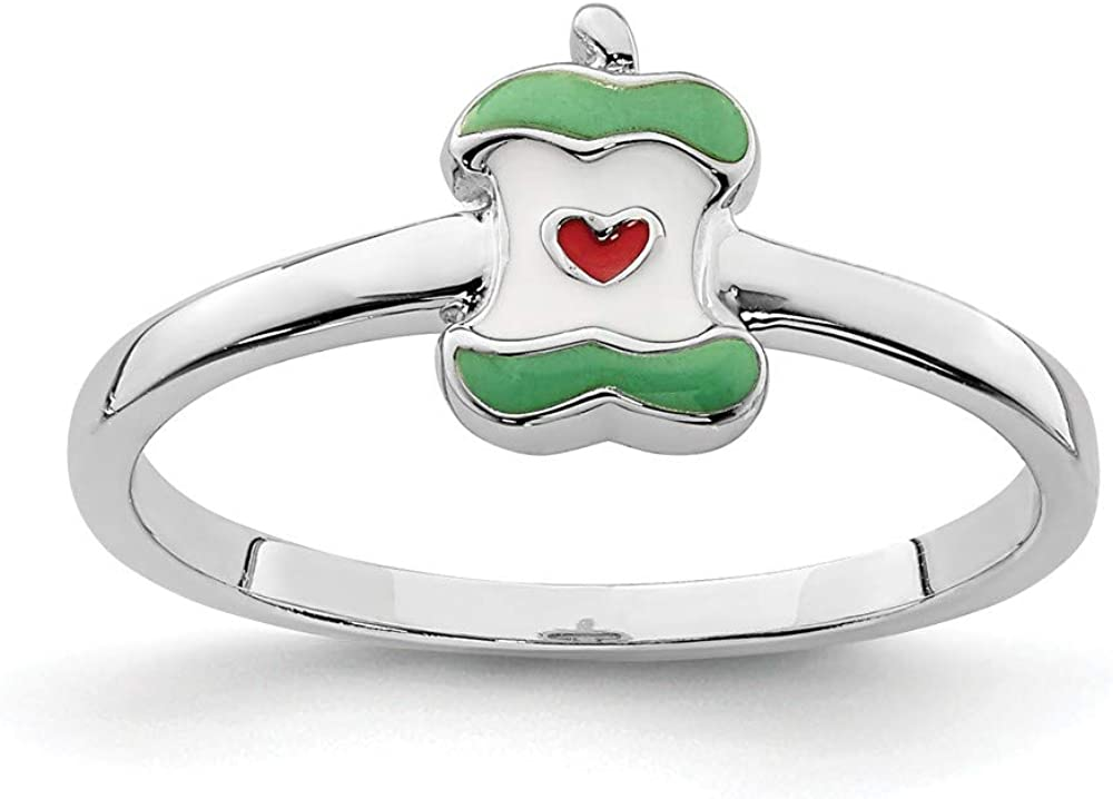 Solid 925 Sterling Silver Childs Enameled Apple Core Ring Band Size 3