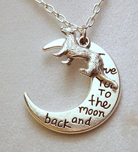 Ferret Jewelry -I love you to the moon and back ferret necklace (963a)
