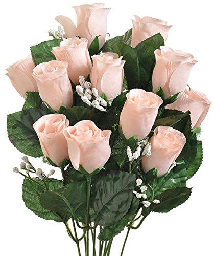 14 Long Stem Nude Roses Buds Silk Wedding Decoration Flowers Artificial Arrangement Bride Bouquets Centerpieces