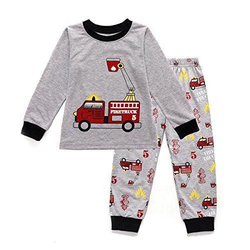 Toddler Boys Pajamas,Fire Truck Cotton PJS Toddler Sleepwear Bottoms Sets Clothes for Kids Size 1 2 3 4 5 6 T