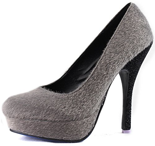 Dames Fahrenheit Mare-01 Faux Ponyhaar Platform Stiletto Pumps Fashion Schoenen Grijs Sv