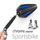 KiWAV Magazi Achilles motorcycle mirrors blue fairing mount w/ chrome adapter for sports bike adjustable e