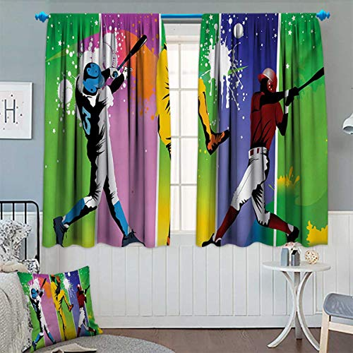 Chaneyhouse Baseball Patterned Drape for Glass Door Players in Different Positions in Playground Action Catcher Pitcher Modern Sports Waterproof Window Curtain 63