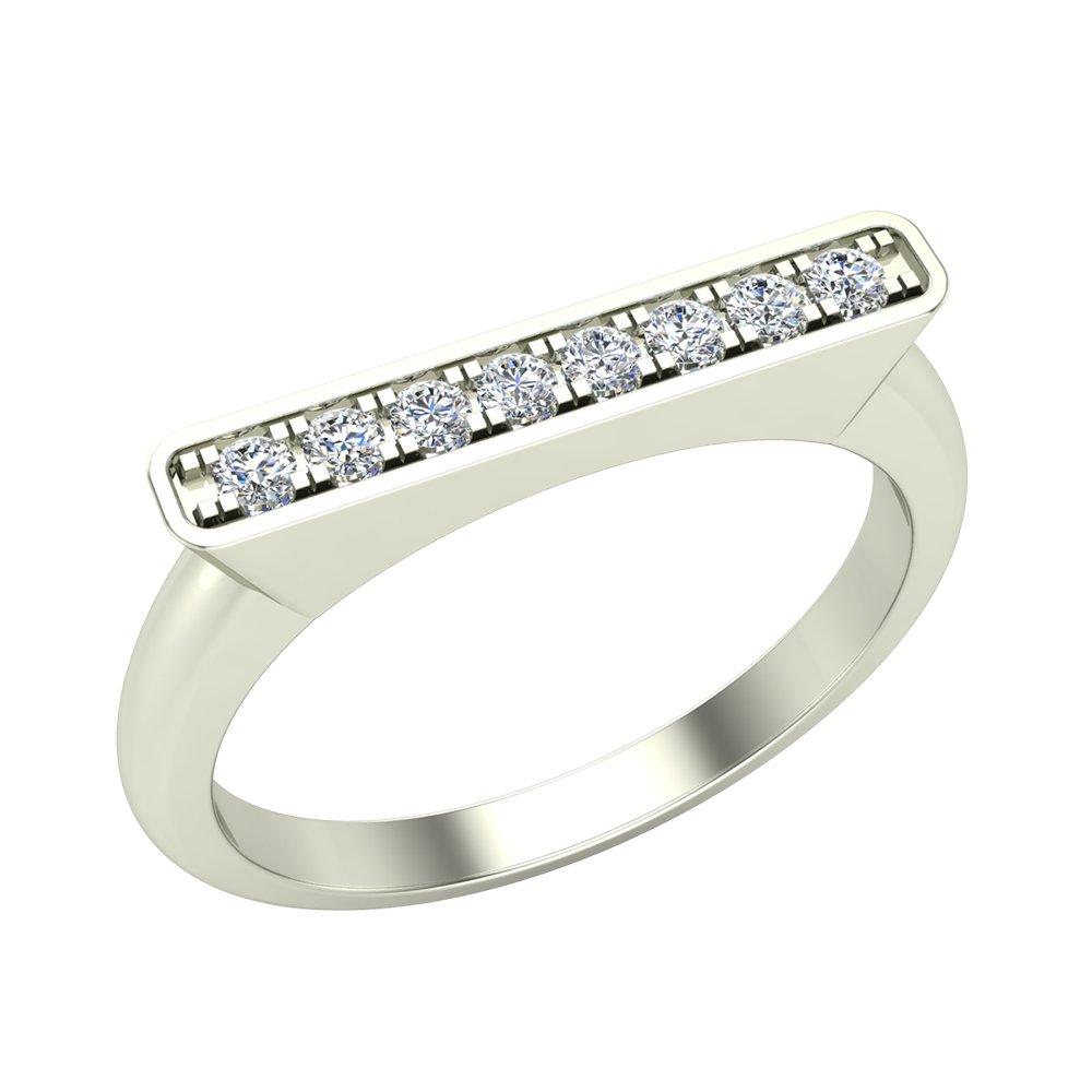 Stacking Band Bar Ring Diamond Wedding or Anniversary 0.14 ctw 14K White Gold (Ring Size 6.5)
