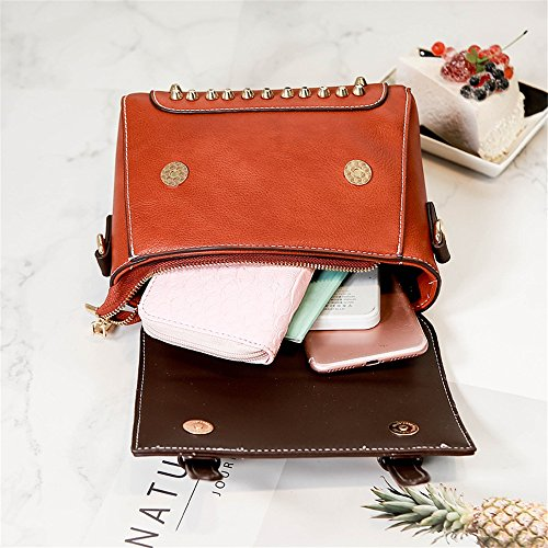 Studded Buckle Bag Crossbody Square Leisure Bag Retro Simple Pu Shoulder Brown 5AwqE5Yx