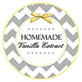 homemade extracts - 36 Vanilla Extract Labels, Chevron and Yellow Vanilla stickers, Homemade Kitchen Labels