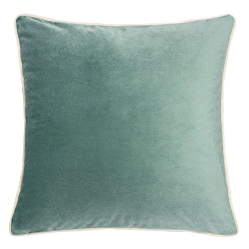 Homey Cozy Velvet Throw Pillow Cover,Basic Teal with Ivory Piping Soft Fuzzy Cozy Warm Slik Decorative Square Couch Cushion Pillow Case 20 x 20 Inch, Cover Only