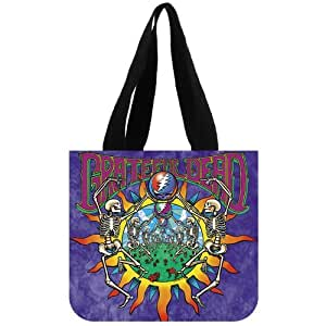 Pop Band&Grateful Dead Logo Background Tote Bag-100% cotton canvas Eco-friendly Two Side Same Printed shopping bag-large size of 12.2x11x3.3 inch carrier bag