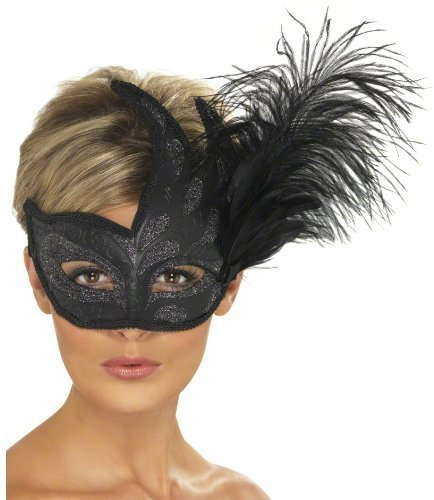 Ornate Colombina Feather Mask Black by (Costumelicious)
