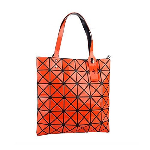 Forma Geométrica Del Hombro Paquete Cubo Plegable Variedad Bolsa De Moda Bolso Ocasional Orange