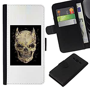 All Phone Most Case / Oferta Especial Cáscara Funda de cuero Monedero Cubierta de proteccion Caso / Wallet Case for Samsung Galaxy A3 // Devil Skull Horns Black Poster Death