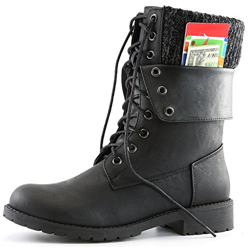 DailyShoes Womens Military Lace Up Buckle Combat Boots Ankle Mid Calf Fold-Down Exclusive Credit Card Pocket, Black PU, 9.5 (Military Ankle Boots Women)