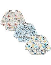 Jolik 3 Pack baby long sleeve bib,Toddler Waterproof Bibs Smock with Pockets (6-24 Months)