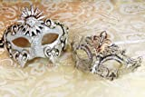 Cheap His & Hers Luxury Set Masquerade Masks [Silver Themed] – Bestselling Ivory Silver Phantom and Silver Laser Cut Masquerade Mask