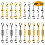 Paxcoo 20Pcs Magnetic Clasps for Jewelry, Magnetic Necklace Extender Clasps and Closures