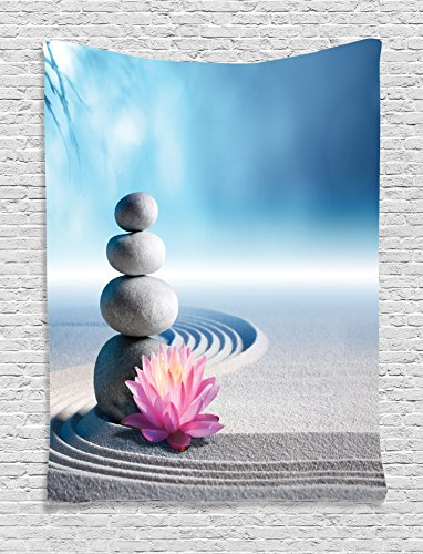 Ambesonne Spa Decor Tapestry, Stones and Lotus Flower Over Sand Meditation Harmony Balance Flourish Your Spirit Theme, Bedroom Living Room Dorm Decor, 40 W x 60 L inches, Grey Blue Pink by Ambesonne