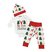 Oklady Infant Toddler Baby Boys Girls Deer Lettler Print Outfits Rompers Clothes Set(0-6 Months)