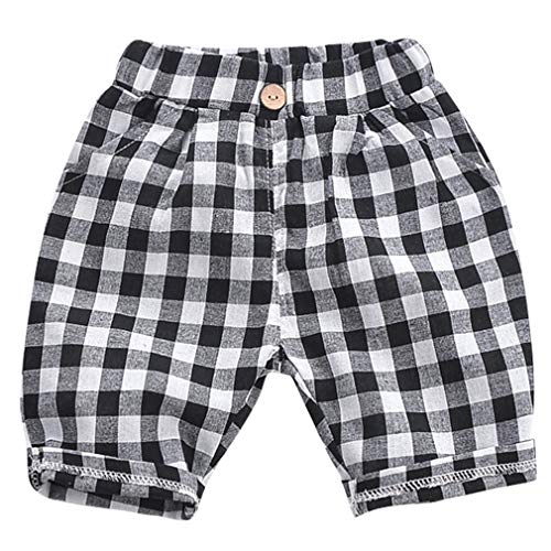 La Vogue Baby Boys Pull On Shorts Casual Summer Organic Cargo Shorts Striped French Terry Shorts Black