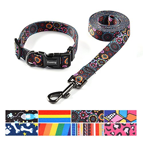 Ihoming Dog Collar and Leash Set Combo Safety Set for Daily Outdoor Walking Running Training Small Medium Large Dogs…