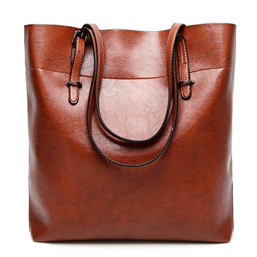 YYWOversized Tote Bag - Bolso de mano grande Mujer marrón