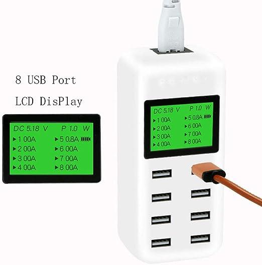 DZSF 8 Cargador Hub USB con Puerto Inteligente LCD 40W Multi ...
