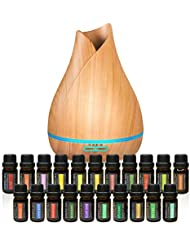 Aromatherapy Essential Oil Diffuser Bundle - 400ml Ultrasonic Diffuser with 20 Essential Plant Oils - 4 Timer & 7 Ambient Light Settings - Therapeutic Grade Essential Oils