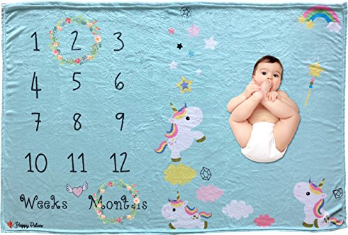 Adorable Blue Weekly or Monthly Newborn Milestone Baby Blanket, Perfect Photography Background Prop Set for Boys and Girls, Awesome Baby Shower Gift, (Dress Up Ideas For Book Week)