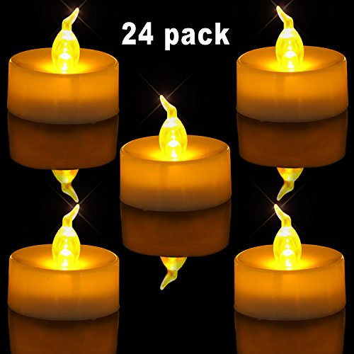 Homemory Pack of 24 Flameless LED Tea Light, Amber Yellow Flickering Bulb, Long Lasting Battery Operated Electric votive candle, Realistic and Bright Faux tealights Dia (Battery Operated Votive)
