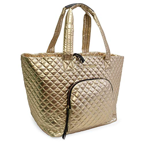 (Quilted Nylon Tote For Women Adrienne Vittadini Great for Going to The Gym, Beach and Outings (Gold))