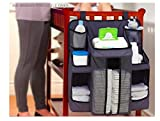 Changing Table That Attaches to Crib sirwolf Nursery Organizer and Baby Diaper Caddy | Hanging Diaper Organization Storage for Baby Essentials | Hang on Crib, Changing Table or Wall (Black)
