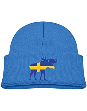 Fashion Moose Sweden Flag Printed Infant Baby Winter Hat Beanie