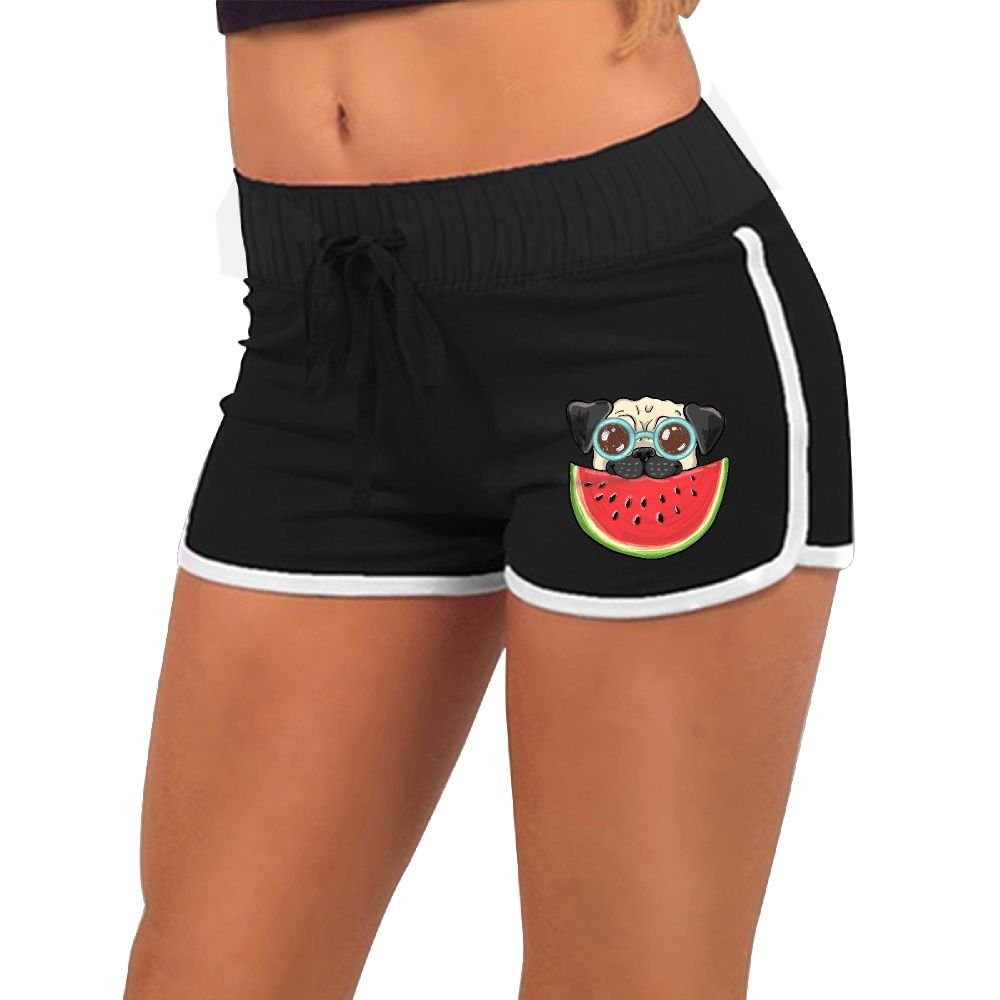 Girl's Pug Dog in Sunglasses Eating Watermelon Summer Sexy Low Waist Beach Yoga Hot Pants Gym Home Mini Athletic Shorts