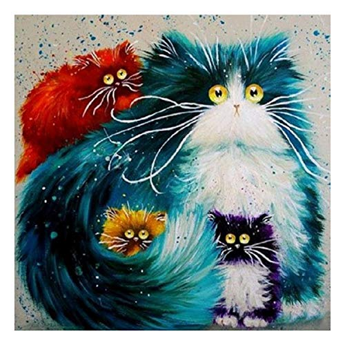 5D Diamond Painting Kit Cats Family DIY Rhinestone Embroidery Cross Stitch Arts Craft for Home Wall Decor 11.8 x 11.8 inch