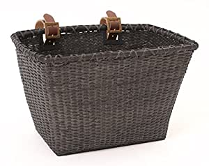 Retrospec Bicycle Cane Woven Rectangular Toto Basket with Authentic Leather Straps & Brass Buckles, Black