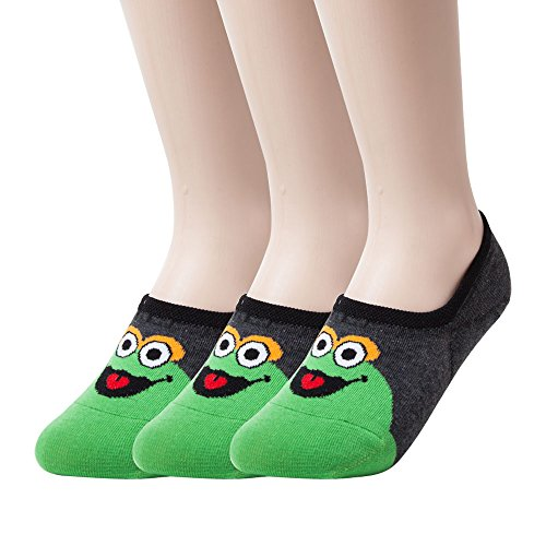 [On Clearance Sale] Sockstheway Sesame Street Elmo Cookie Monster Women's Anti-Slip No Show Socks, Best Low Cut Liner Socks (Green, 3P) ()