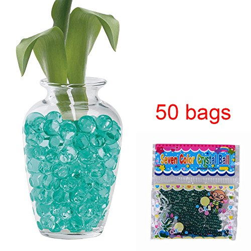 50 Bags Magic Water Gel Crystal Soil Beads Growing Jelly Ball Decoration Vase Filler - Transparent Reuseable Water Beads Gel (Turquoise)