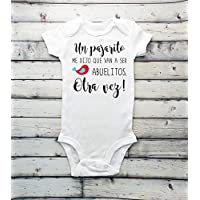 baby announcement bodysuit, surprise pregnancy, guess what, baby coming soon, baby bodysuit, pregnancy bodysuit, IVF - spanish bodysuit - pregnancy reveal Abuelitos grandparents Hola abuelitos