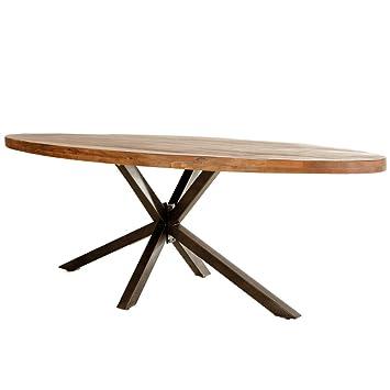 Esstisch Oval 240 X 100 Cm Mango Massivholz Metallgestell Tisch