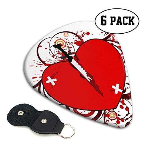 FJSLIE Soul Mate Broke Heart Guitar Picks Unique 351 Shape Celluloid Guitar Plectrums,6 Packs in Holder Case for Guitar Bass ()