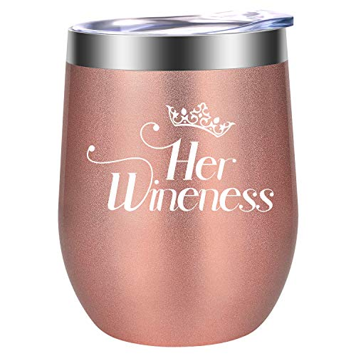 Her Wineness - Funny Queen 21st 30th 40th 50th 60th 70th Birthday, Mother's Day Gift for Women - Wine Lover Gifts for Mom, Grandma, Wife, Girl Friend - LEADO 12 oz Insulated Stemless Wine Tumbler