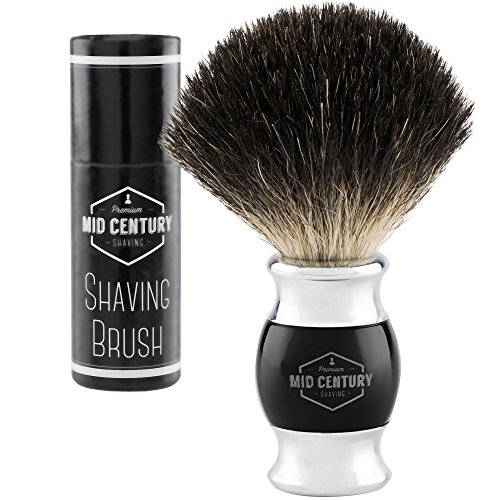 Mid Century Shaving Brush - Black Badger Hair - Metal and Faux Horn (Acrylic) For a Premium Wet Shave Experience (Black)