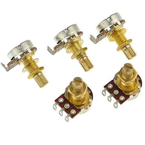 (5x GOLD Guitar Potentiometers A250k Split Shaft Taper Pots Audio Tone Switch Control)