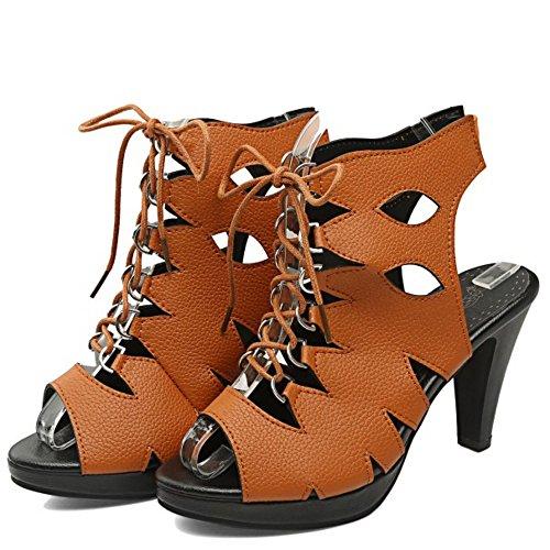COOLCEPT Mujer Peep Toe Tacon alto Sandalias Strappy Slingback Zapatos Marron